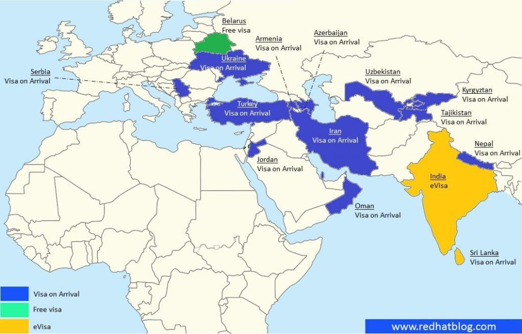 Negara bebas visa di Timur Tengah, Asia Tengah, dan Asia Selatan