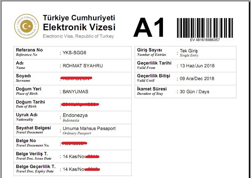 Contoh visa ke Turki